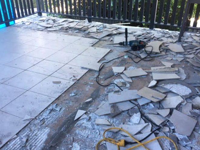 Broken floor tile